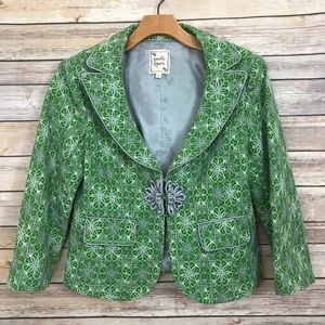 Nanette Lepore green lace design blazer jacket 8